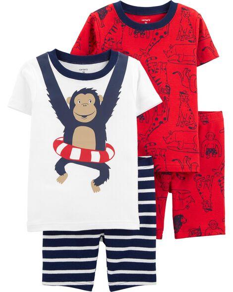 4-Piece Monkey Snug Fit Cotton PJs