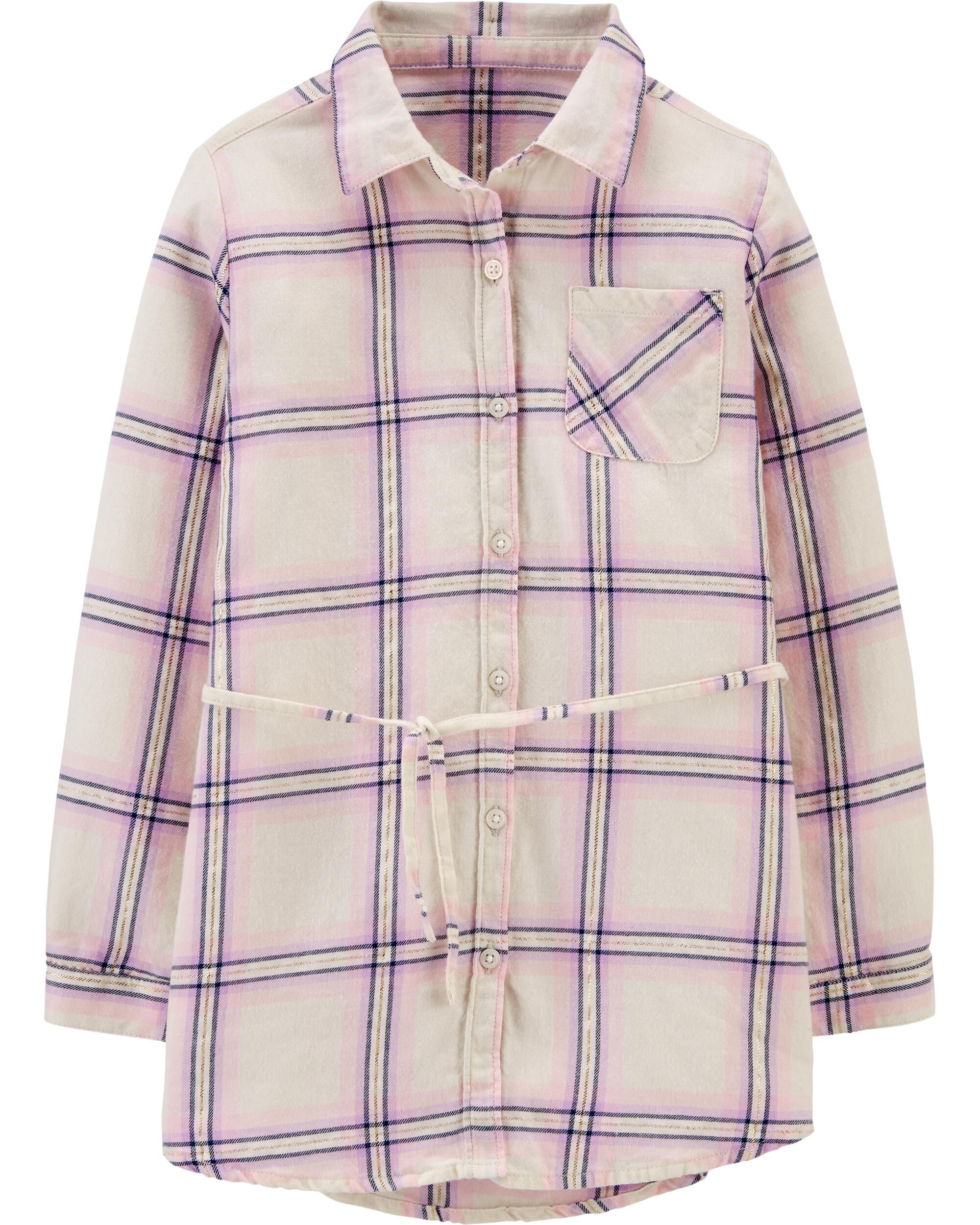 *CLEARANCE* Metallic Plaid Flannel Tunic