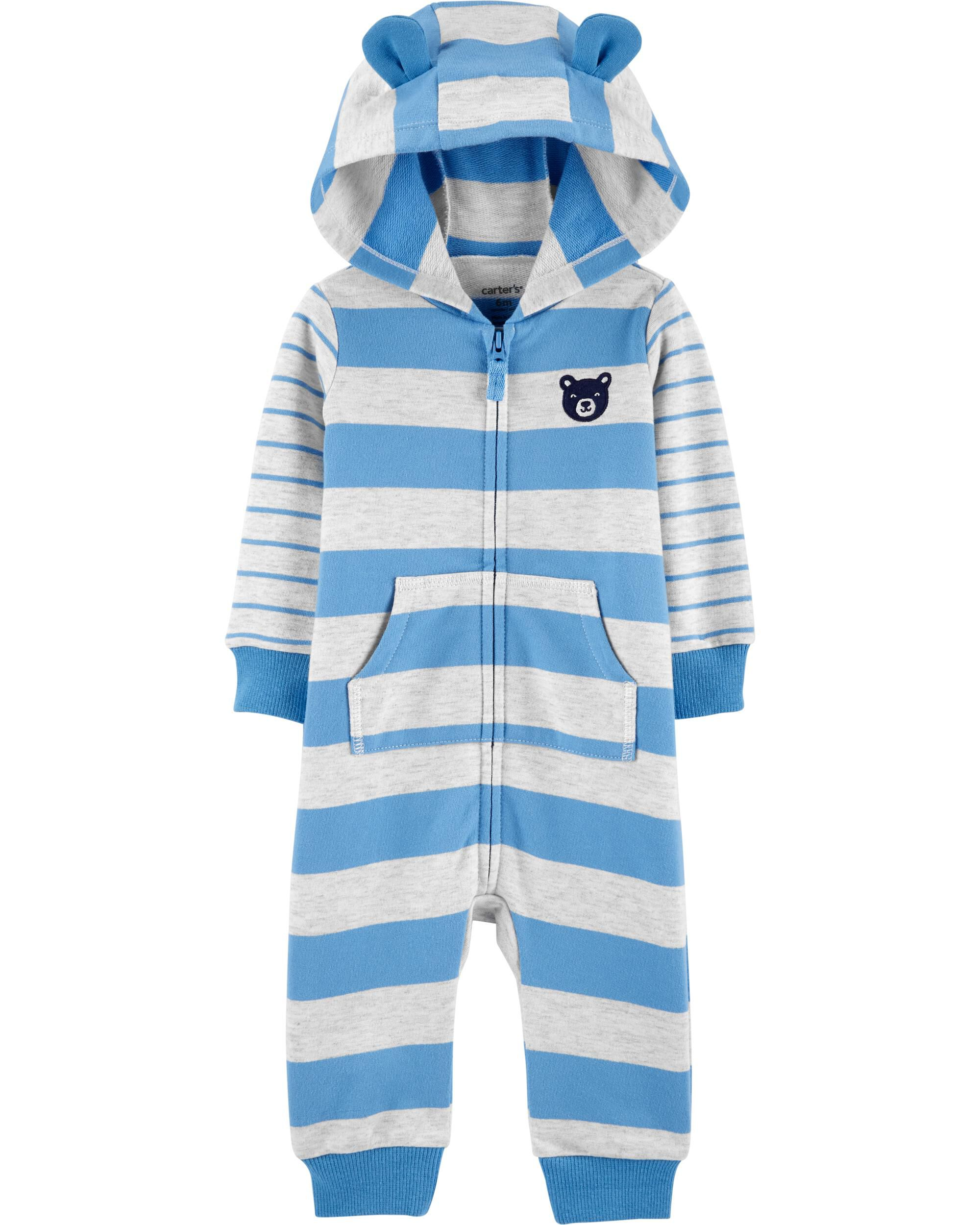 *DOORBUSTER* Hooded Striped French Terry Jumpsuit