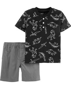 52e61993d66 2-Piece Dinosaur Slub Jersey Henley   Canvas Short Set