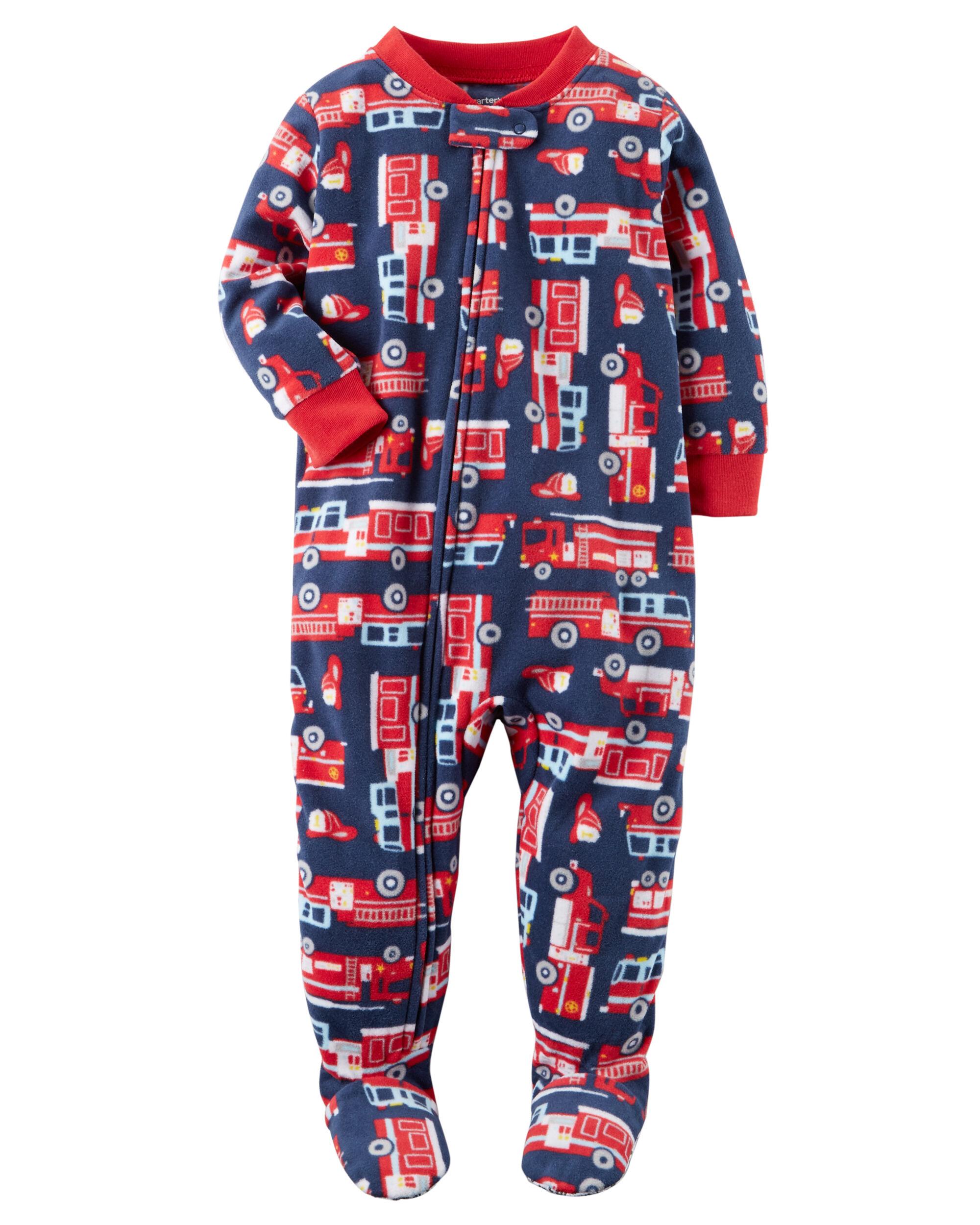 boys pajamas pj s sleepwear carter s shipping 1 piece firetruck fleece pjs