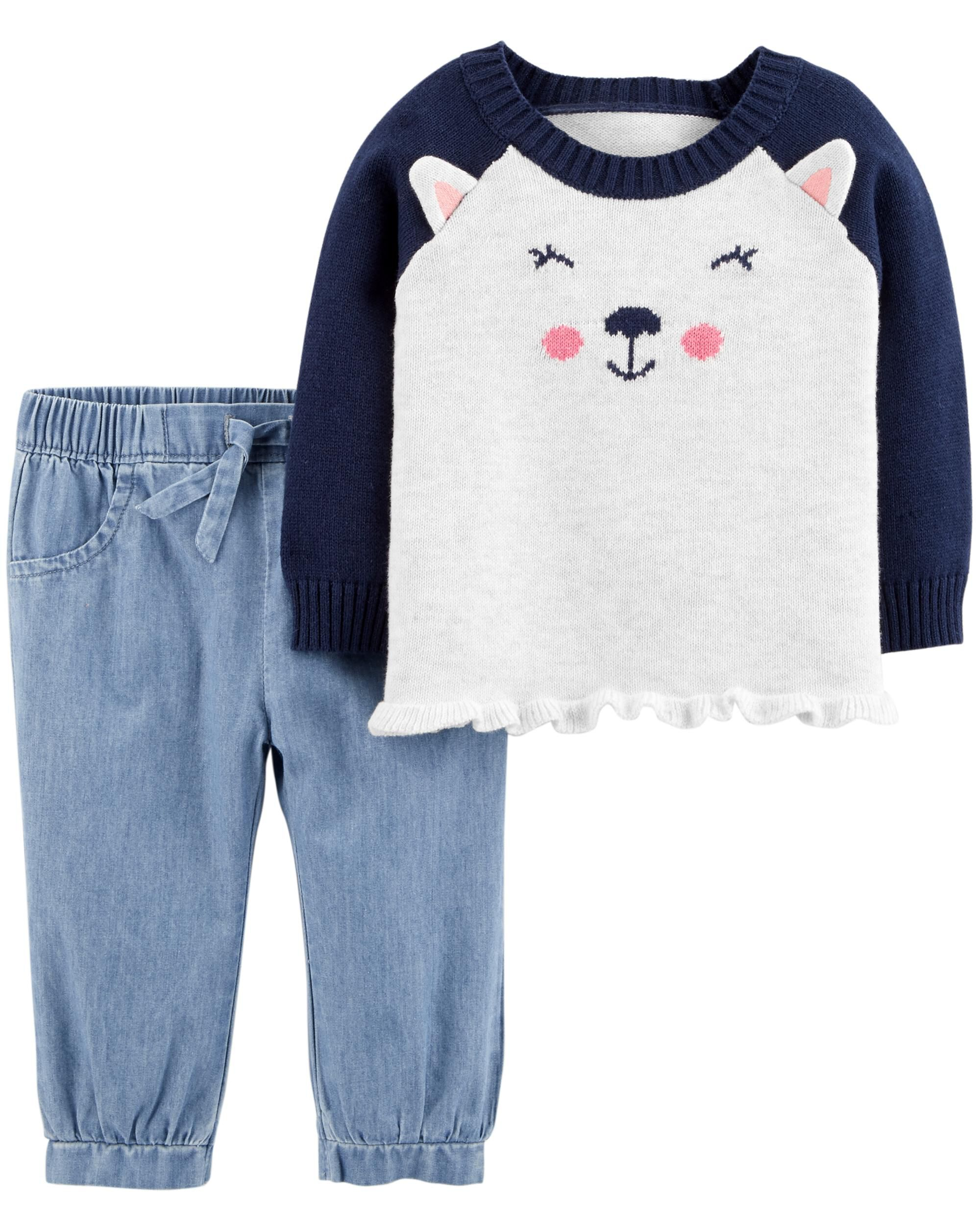 d93f47ae54b5 2-Piece Dog Sweater   Chambray Pant Set