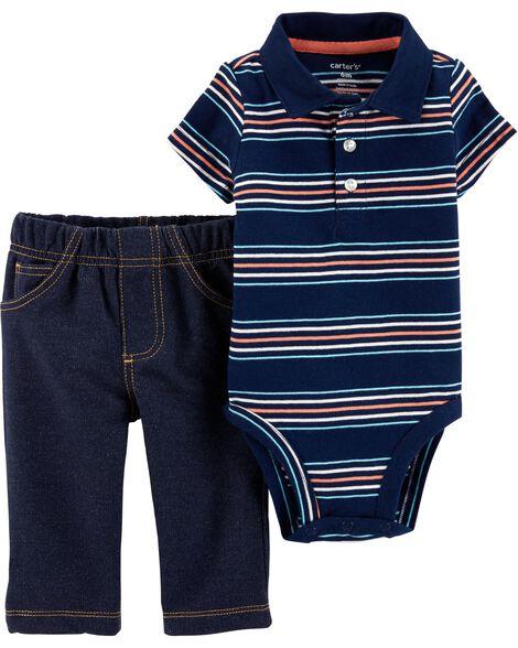 2-Piece Polo Style Bodysuit Pant Set