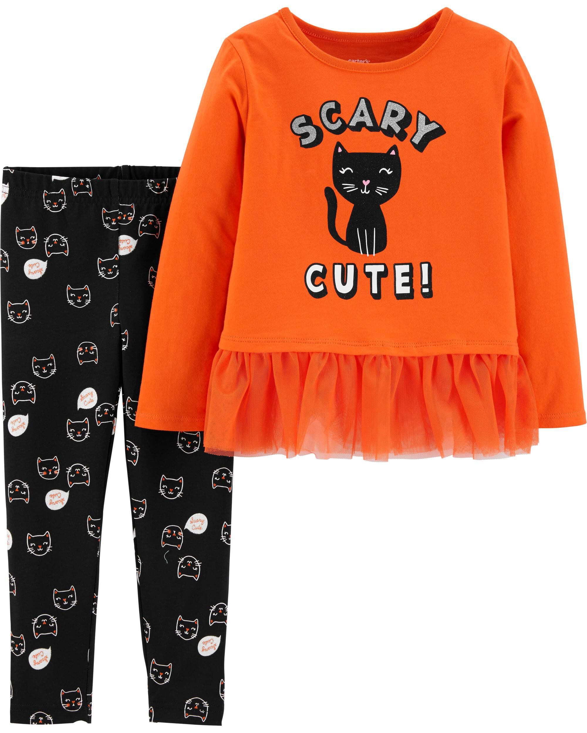*CLEARANCE* 2-Piece Halloween Cat Top & Legging Set