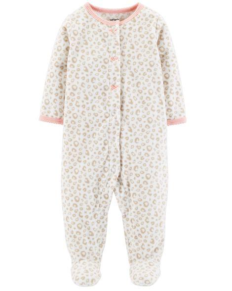 0b891206e Leopard Snap-Up Fleece Sleep   Play
