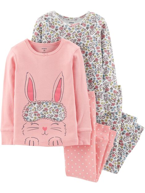 b8ee3ad12460 4-Piece Bunny Snug Fit Cotton PJs
