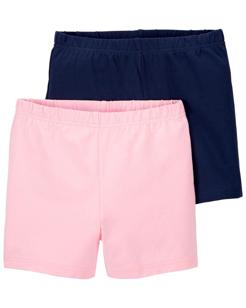 Carters Baby Girls Toddler 2-Pack Tumbling Shorts Pink//Black