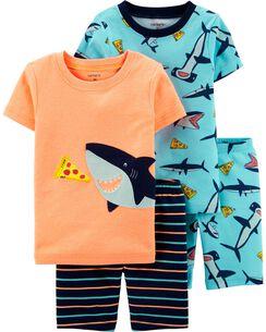 05dc237be3 4-Piece Neon Shark Snug Fit Cotton PJs
