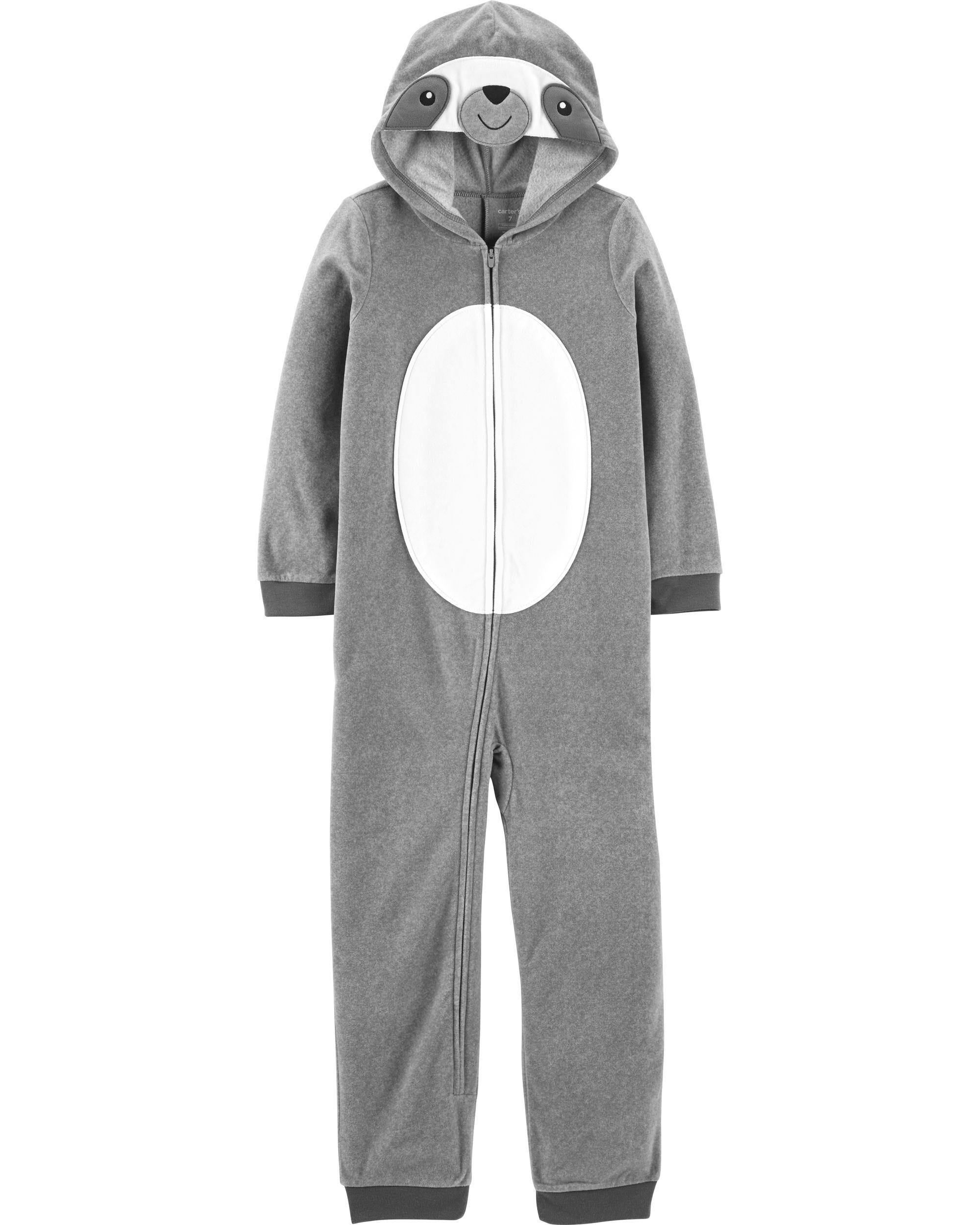 *CLEARANCE* 1-Piece Sloth Hooded Fleece Footless PJs