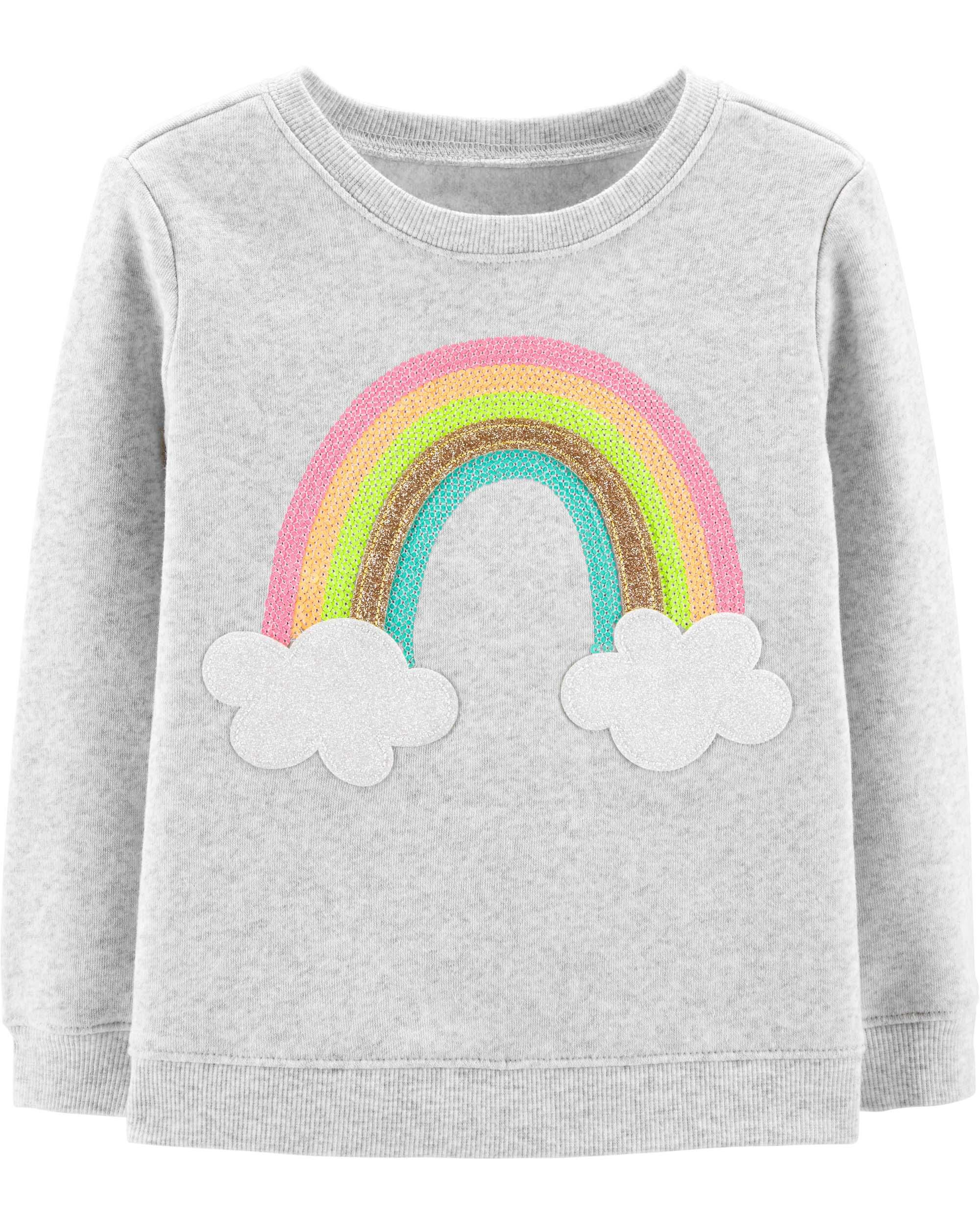 09cdd5af2847 Toddler Girl Glitter Rainbow Pullover