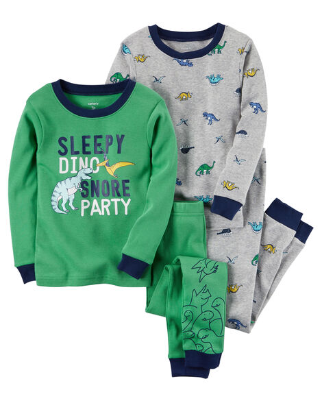 eaada8b8d 4-Piece Dinosaur Snug Fit Cotton PJs