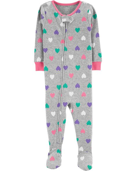 b0220cd49 1-Piece Hearts Snug Fit Cotton PJs