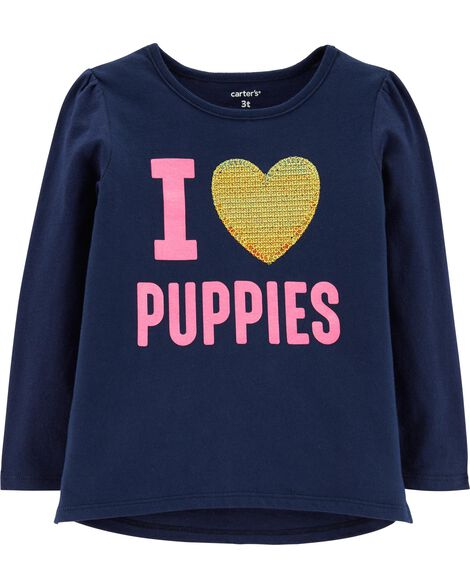 I Love Puppies Glitter Tee