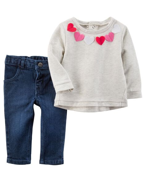 5a80ec844 2-Piece Felt Heart Top   Denim Jean Set