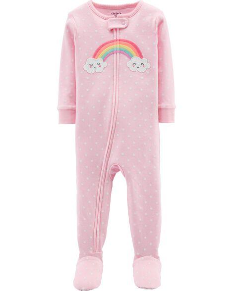 1-Piece Rainbow Snug Fit Cotton Footie PJs