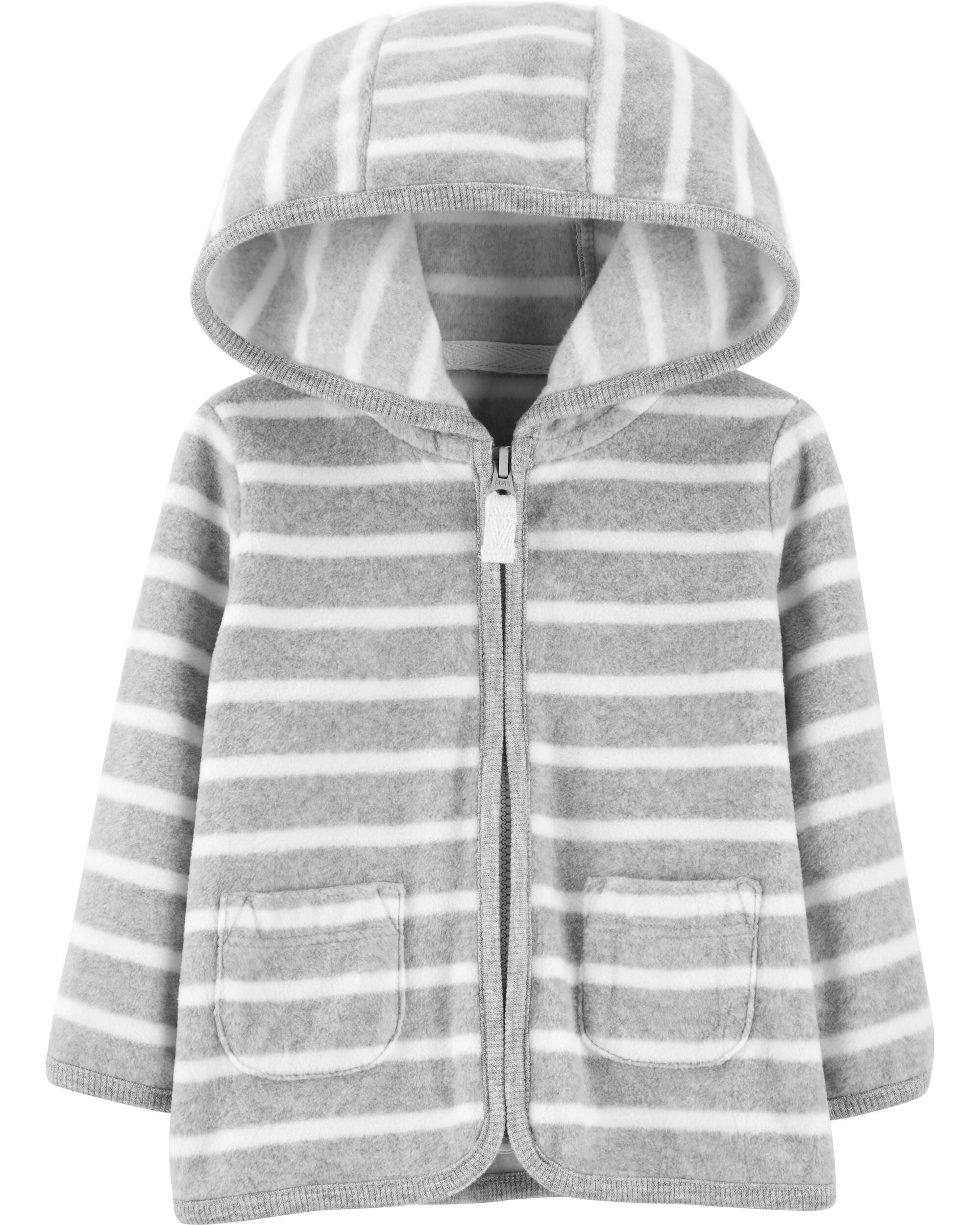 *CLEARANCE* Striped Zip-Up Fleece Cardigan