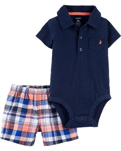 d1613280d44 2-Piece Polo Bodysuit   Plaid Short Set
