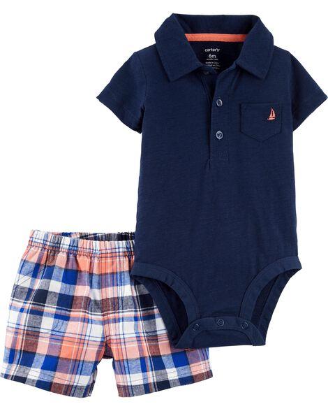 2-Piece Polo Bodysuit & Plaid Short Set