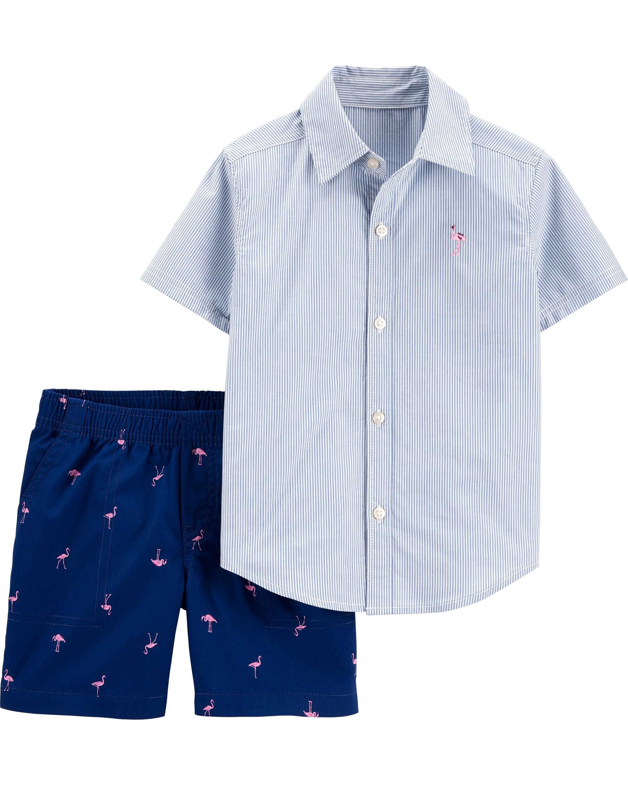 *DOORBUSTER* 2-Piece Striped Button-Front Shirt & Flamingo Short Set