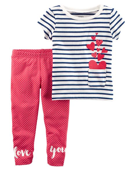c06282f6b 2-Piece French Terry Top   Polka Dot Legging Set