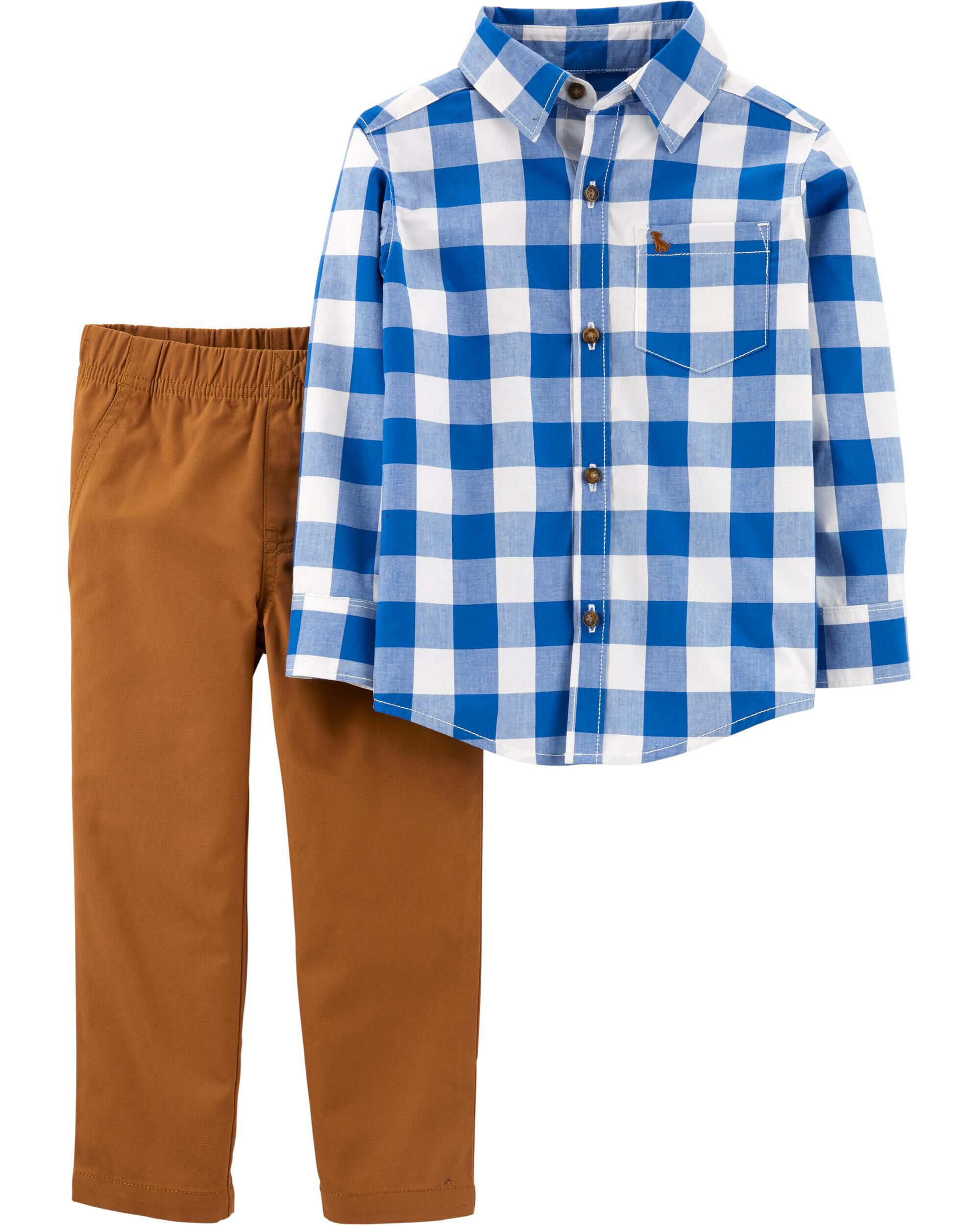 2-Piece Checkered Button-Front Top & Canvas Pant Set