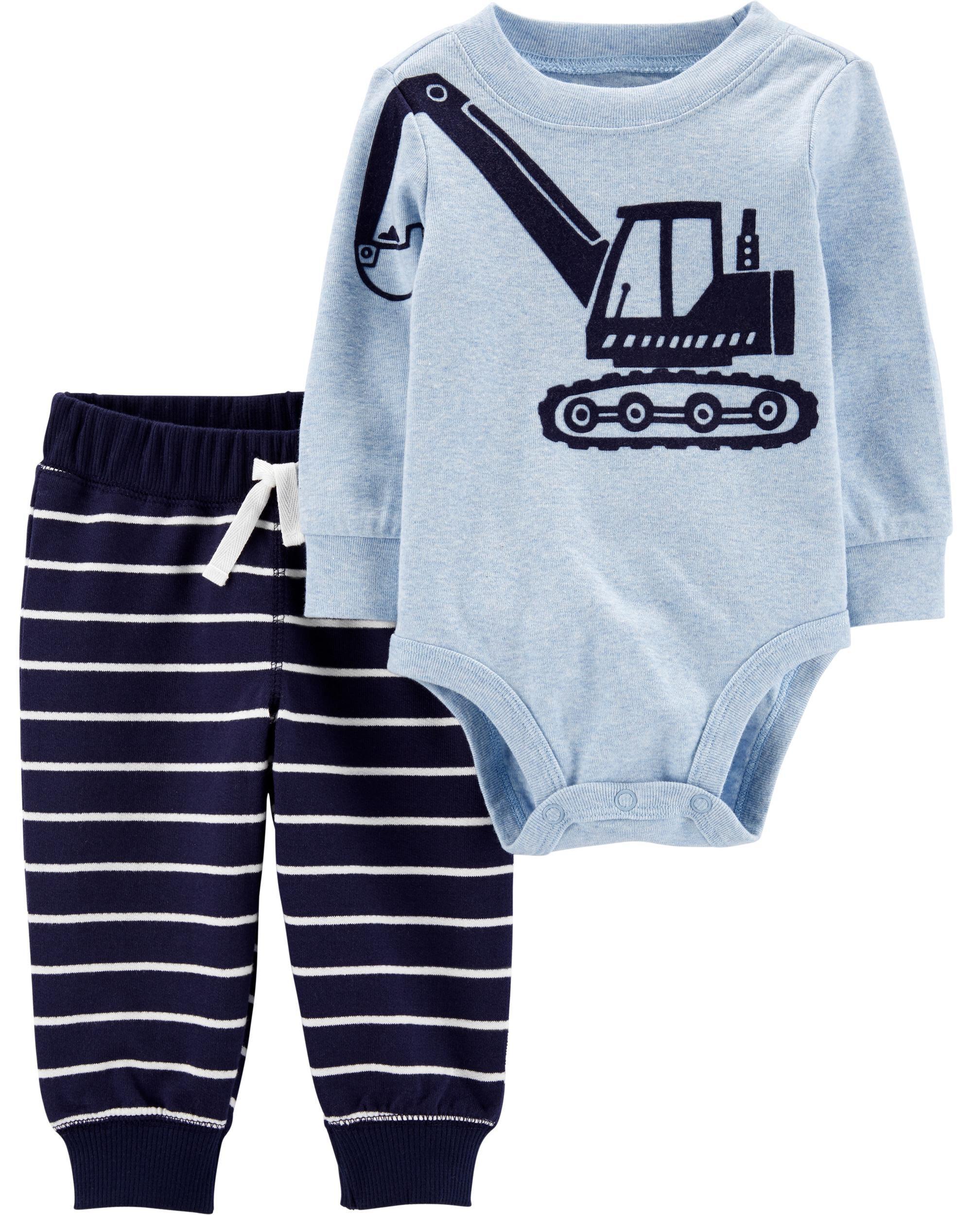 New Carter/'s Boys 2 Piece Little Brother Bodysuit Top /& Pant Set NB 3m 9m 12m