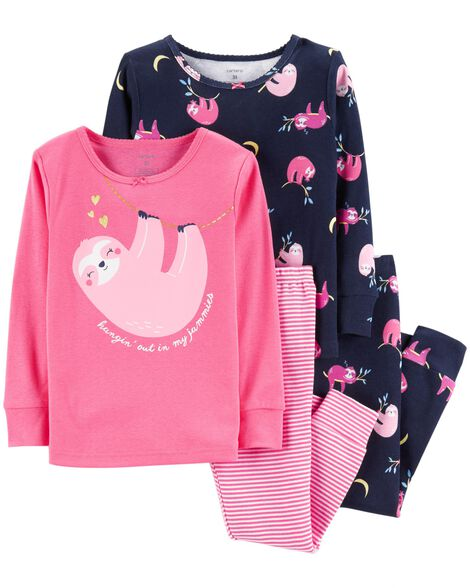 366449ec5f2b 4-Piece Glitter Sloth Snug Fit Cotton PJs