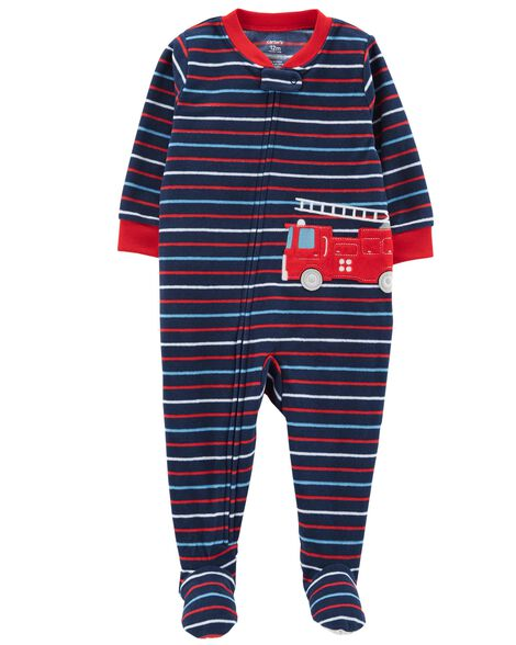 7e2cb748d619 1-Piece Firetruck Fleece PJs