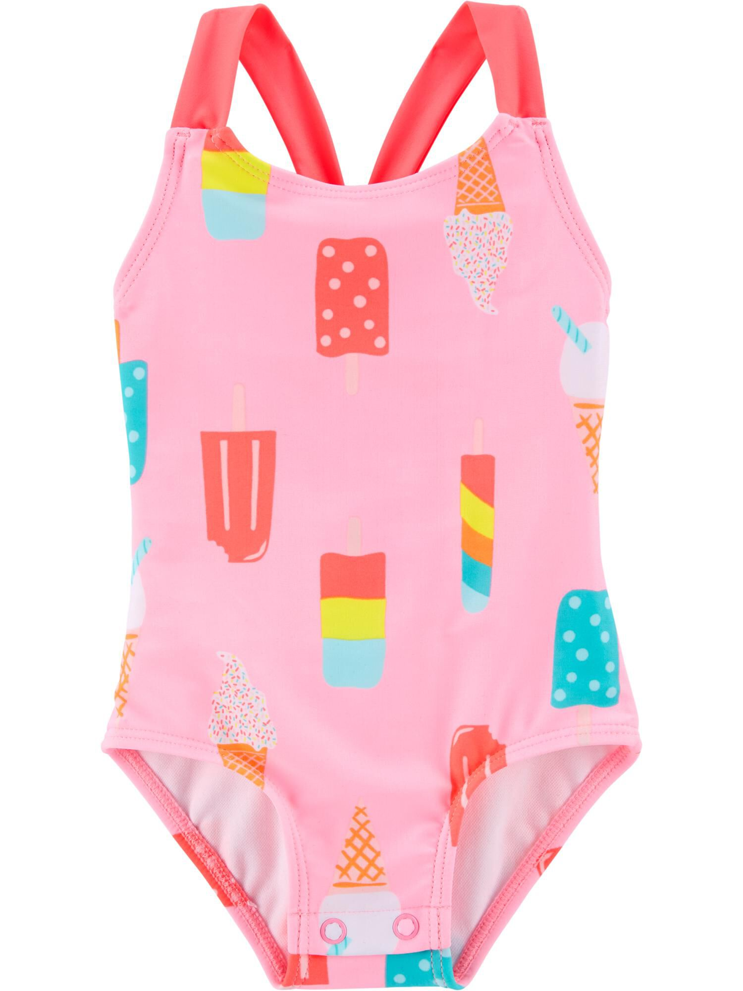 Limited Too Girls Striped Two Piece Short Sleeve Swimsuit with Heart Graphic