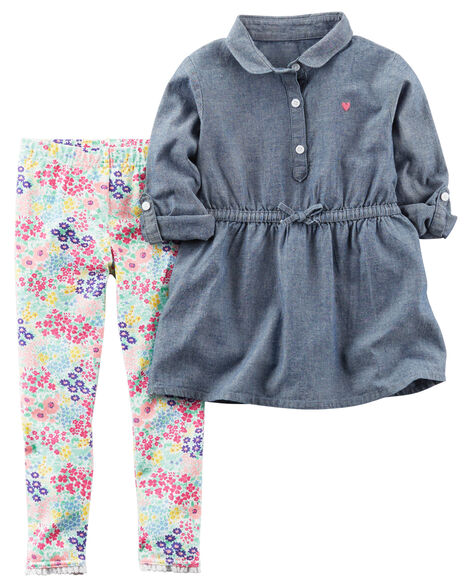 bca9d9ac2 2-Piece Chambray Tunic & Legging Set | Carters.com