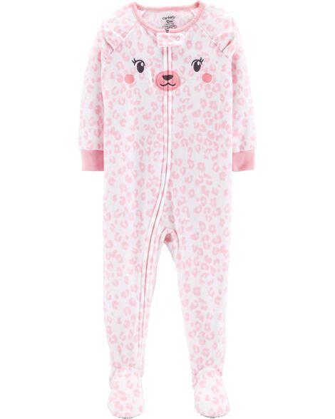 90d832b4b7 Baby Girl 1-Piece Bear Fleece PJs
