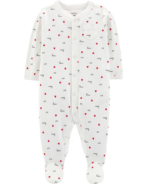 Valentine's Day Snap-Up Cotton Sleep & Play
