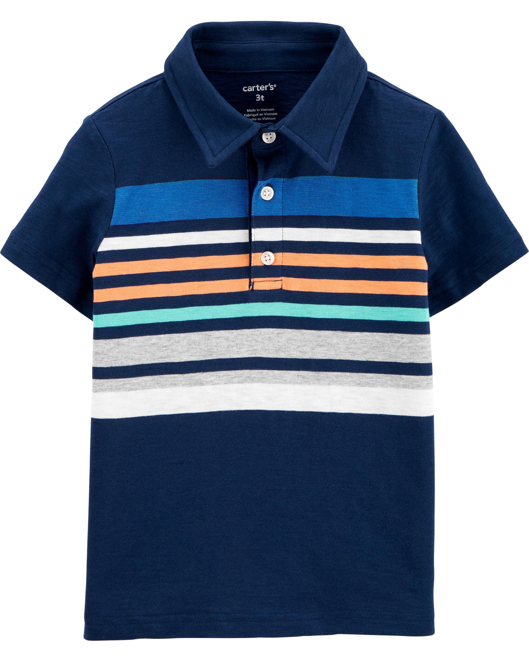 *CLEARANCE* Striped Slub Jersey Polo