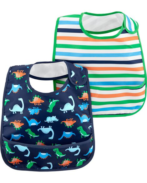 2-Pack Stripes & Dinosaur Feeding Bibs