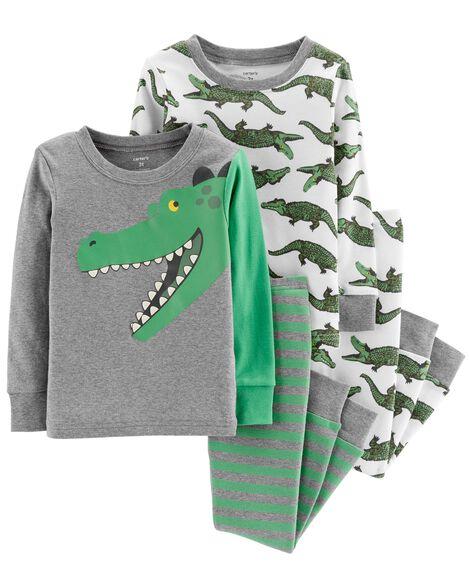 25f6e3d2f161 4-Piece Alligator Snug Fit Cotton PJs