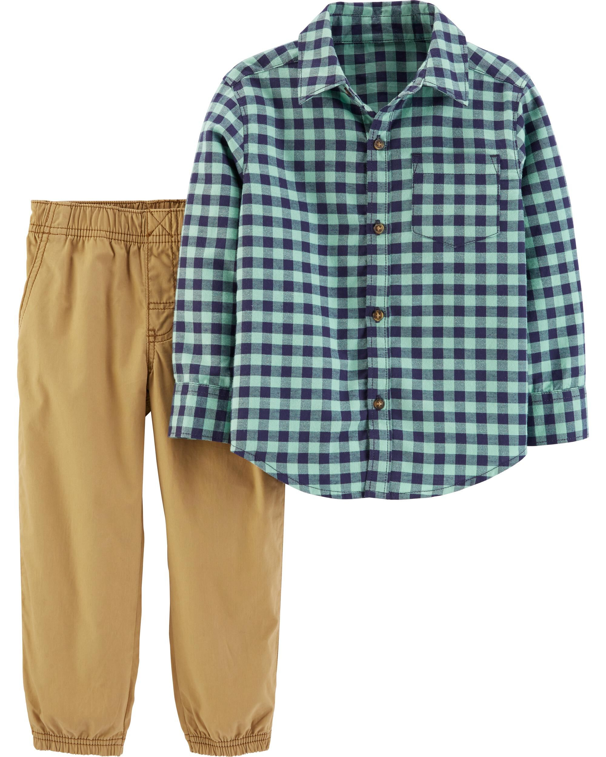 *CLEARANCE* 2-Piece Gingham Button-Front Top & Poplin Pant Set