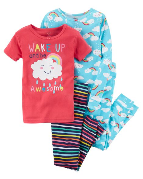 c20f70f5e754 4-Piece Rainbow Snug Fit Cotton PJs