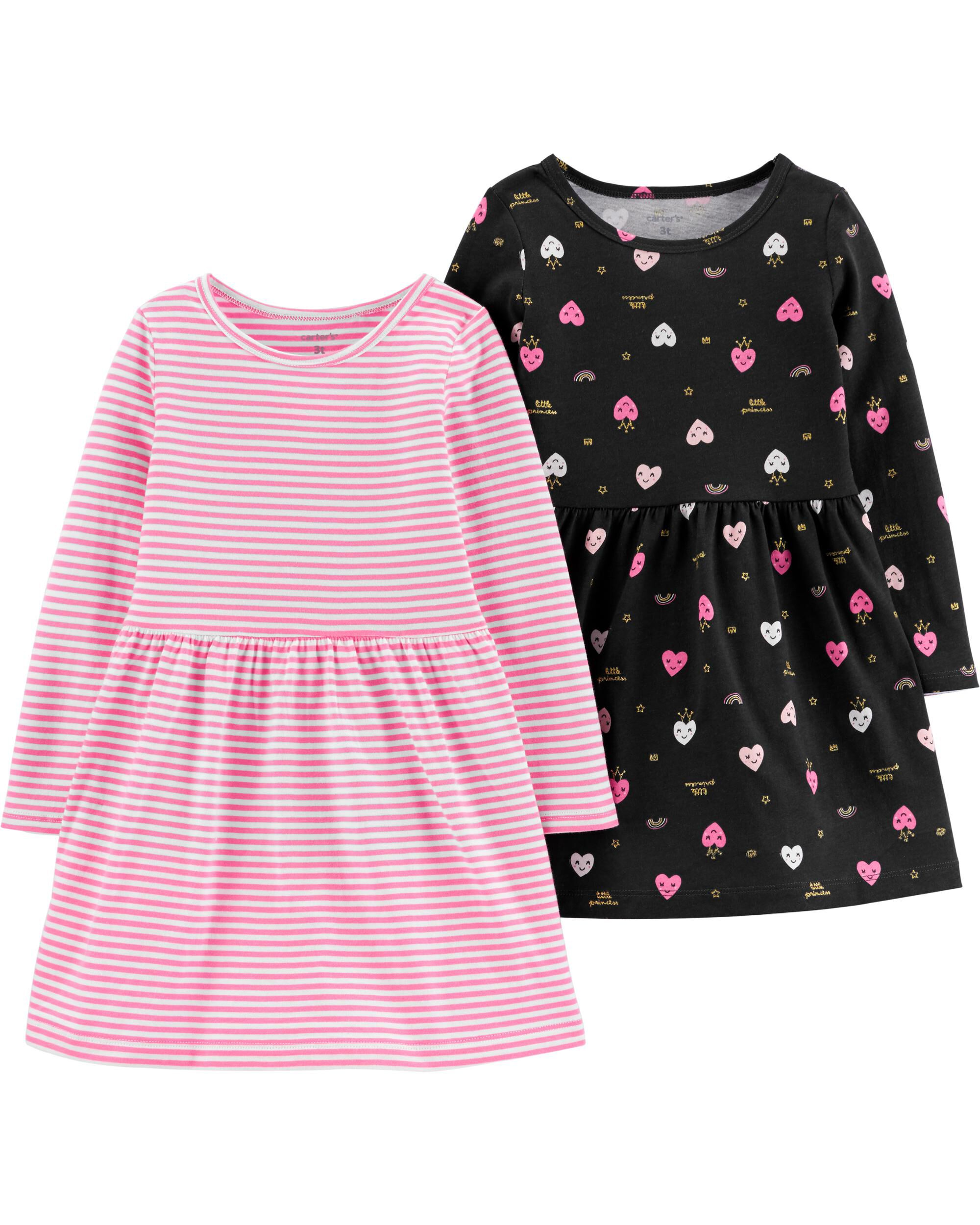 *CLEARANCE* 2-Pack Hearts & Striped Jersey Dresses
