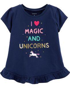 f25ff638e0a Glitter Unicorn Peplum Top