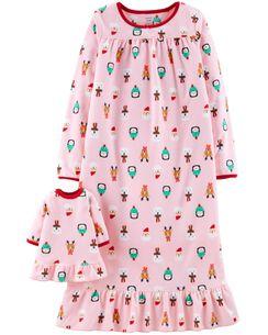 christmas matching gown doll gown set - Girl Christmas Pajamas