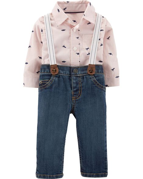 2-Piece Button-Front Bodysuit & Suspender Jean Set