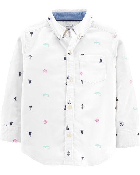 Sailboat Oxford Button-Front Shirt