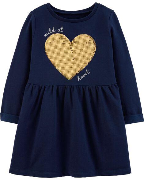Sequin Heart Fleece Dress