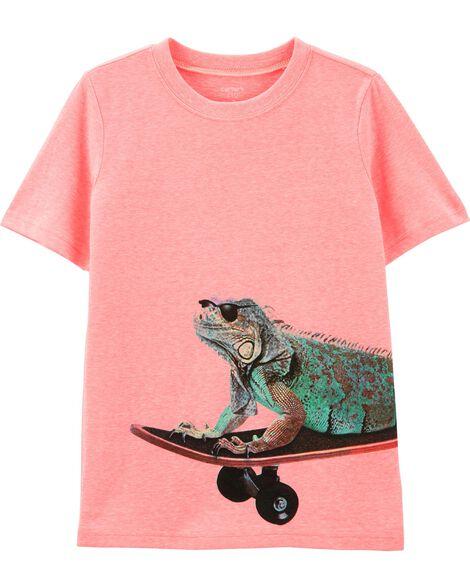Neon Skateboard Iguana Snow Yarn Tee