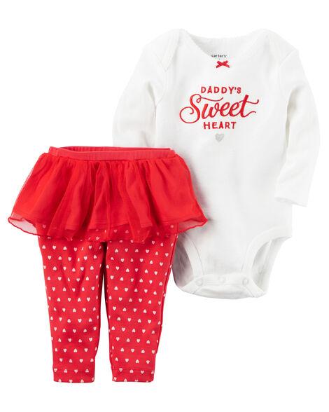 3da891f83 2-Piece Bodysuit   Tutu Pant Valentine s Day Set