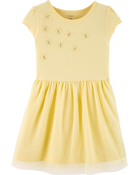 Tulle Butterfly Jersey Dress