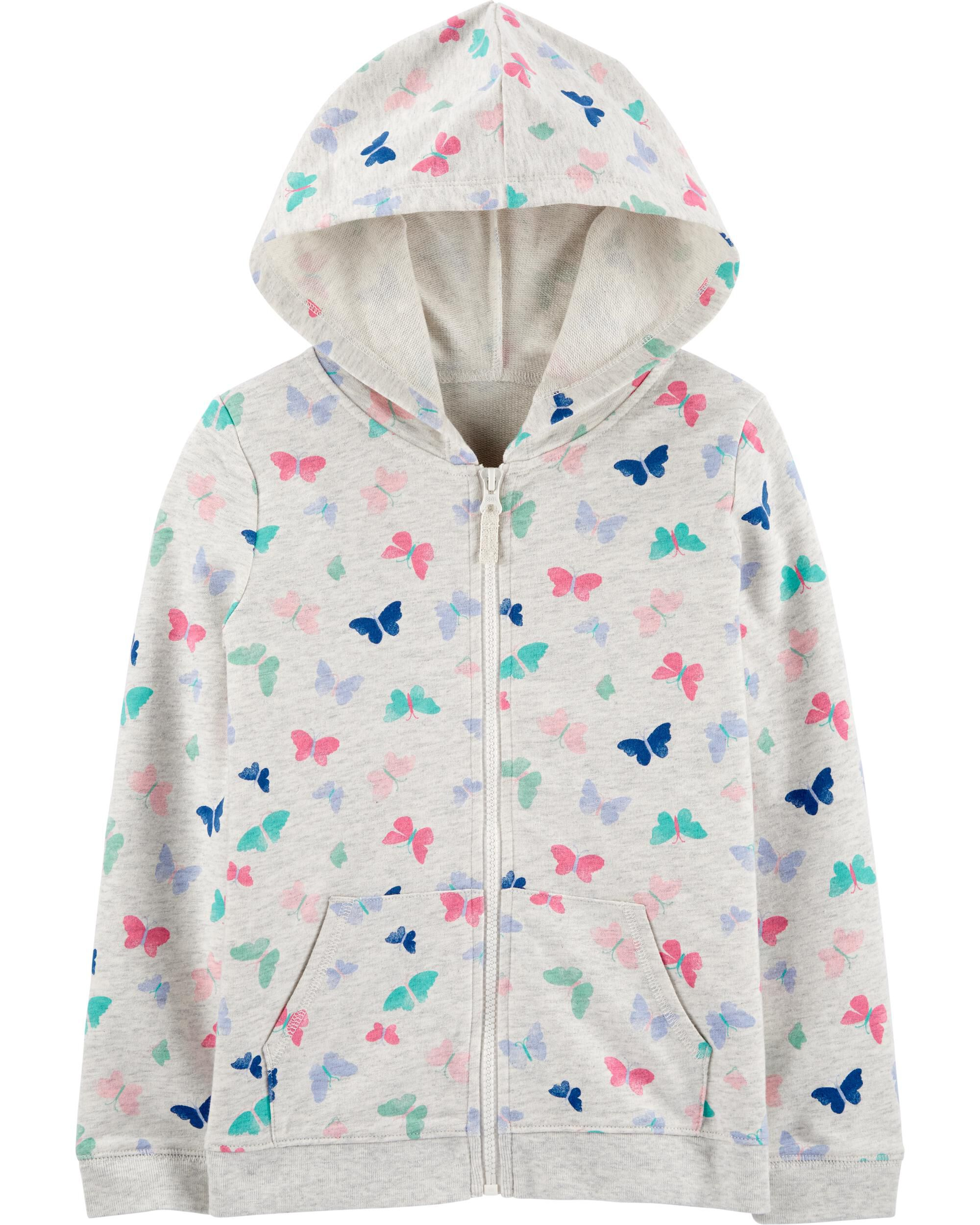 *CLEARANCE* Butterfly Zip-Up French Terry Hoodie