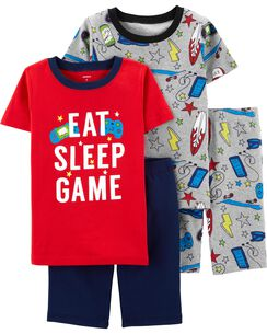 6c52c1bf848d 4-Piece Video Game Snug Fit Cotton PJs