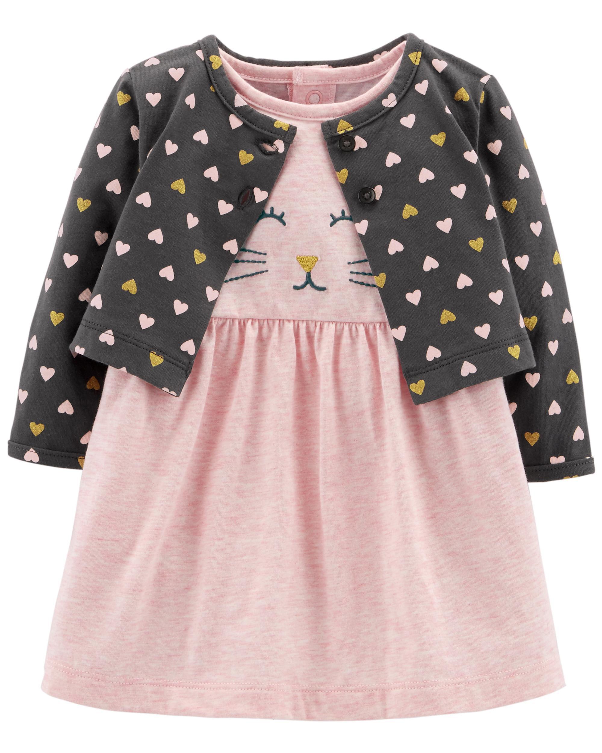 0f4a482cfd2 2-Piece Bodysuit Dress   Cardigan Set