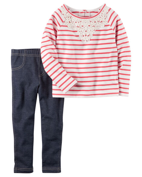 7d624cdeb6402 2-Piece French Terry Top & Jegging Set | Carters.com